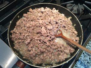 cuisson des deux viandes hâchées