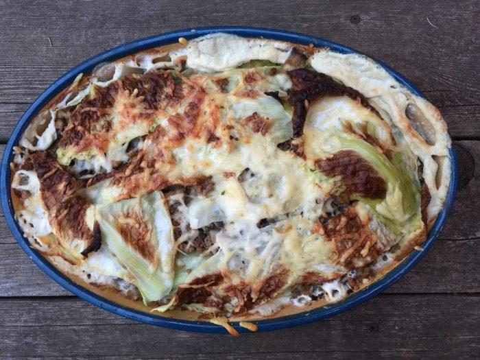lasagnes santé au chou et aux champignons