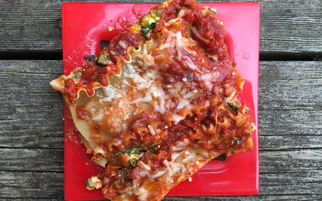 Lasagnes végétariennes aux épinards, champignons et fromages