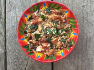 pâtes alphabet aux légumes, kale noir
