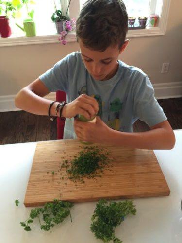 Arthur hâche le persil pour les croquettes de riz de Super Boîte à Lunch
