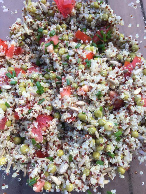 Salade quinoa, petits pois, sauce soja pour Super Boîte à Lunch
