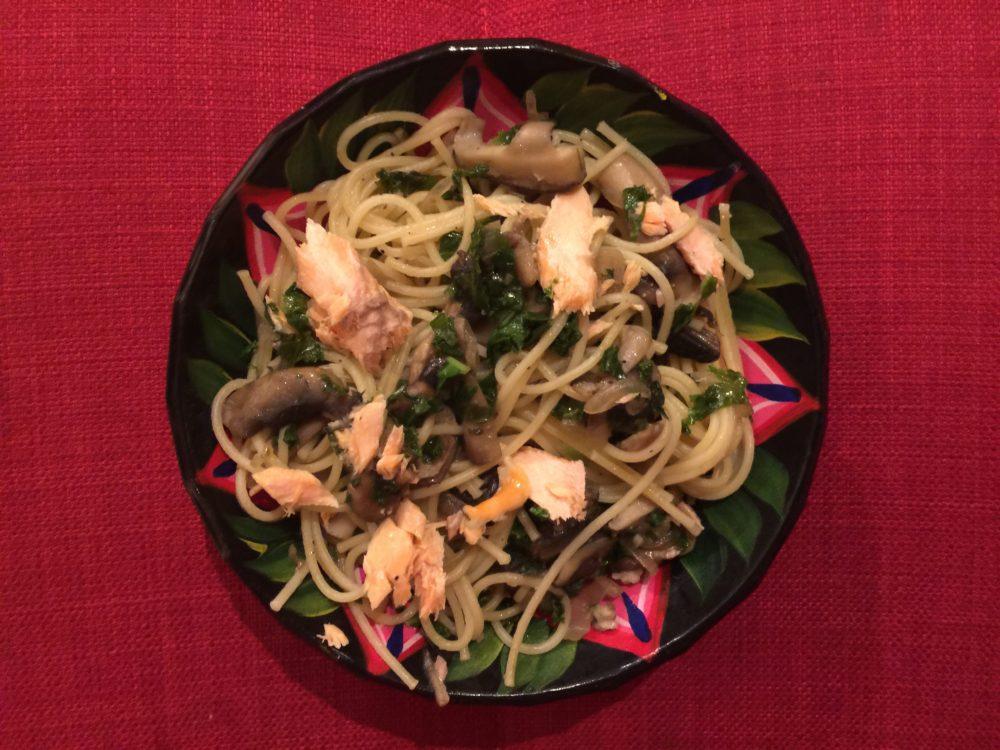 Saumon au Kale et champignon pour Super Boîte à Lunch