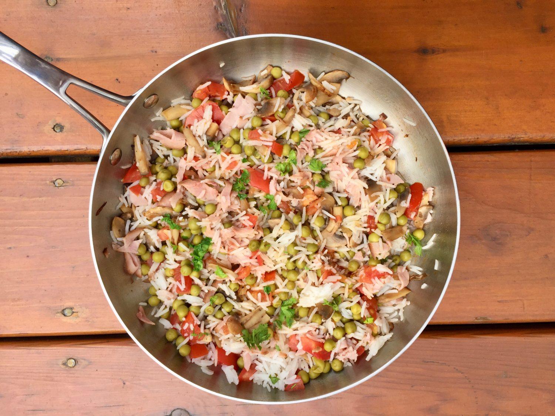 Petits pois au riz, tomate, champignons de Super Boîte à Lunch et jambon pour Super Boîte à Lunch