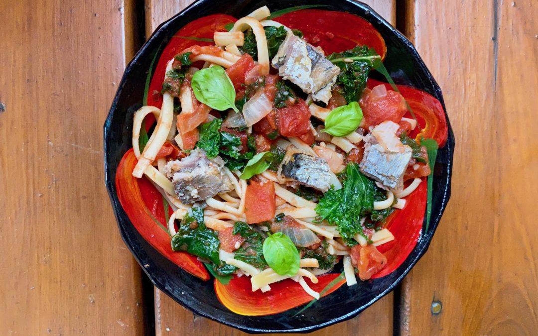 Lunchbox : spaghetti sauce tomate, épinards (ou baby kale) et sardines