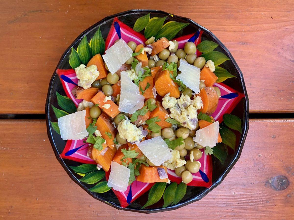 Petits pois aux patates douces et oeufs de super boîte à lunch