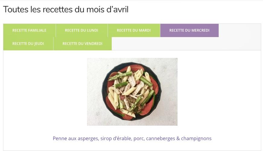 Le planning des recettes d'avril de Super Boîte à Lunch