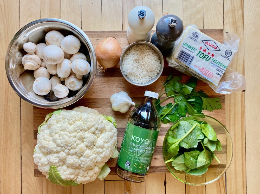 Les ingrédients pour la recette de riz de chou-fleur de Super Boîte à Lunch