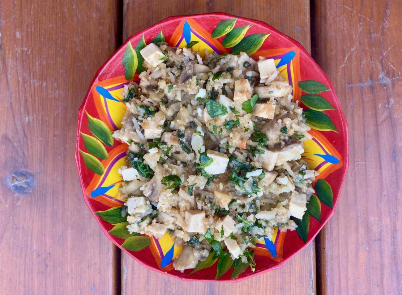 Le riz au chou-fleur, épinards, champignons et tofu de Super Boîte à Lunch