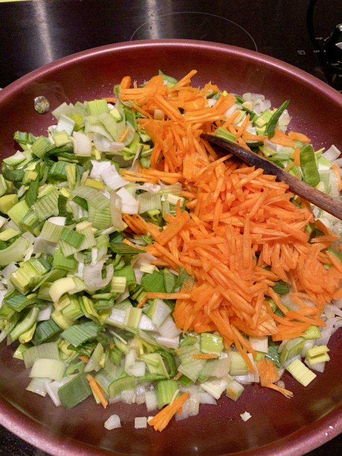 Poireaux et carottes pour Super Boîte à Lunch