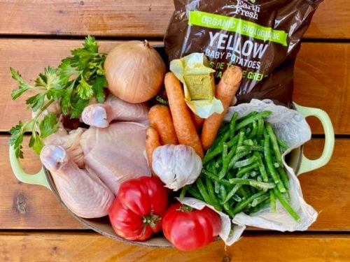 Ingrédients pour le poulet aux légumes de Super Boîte à Lunch