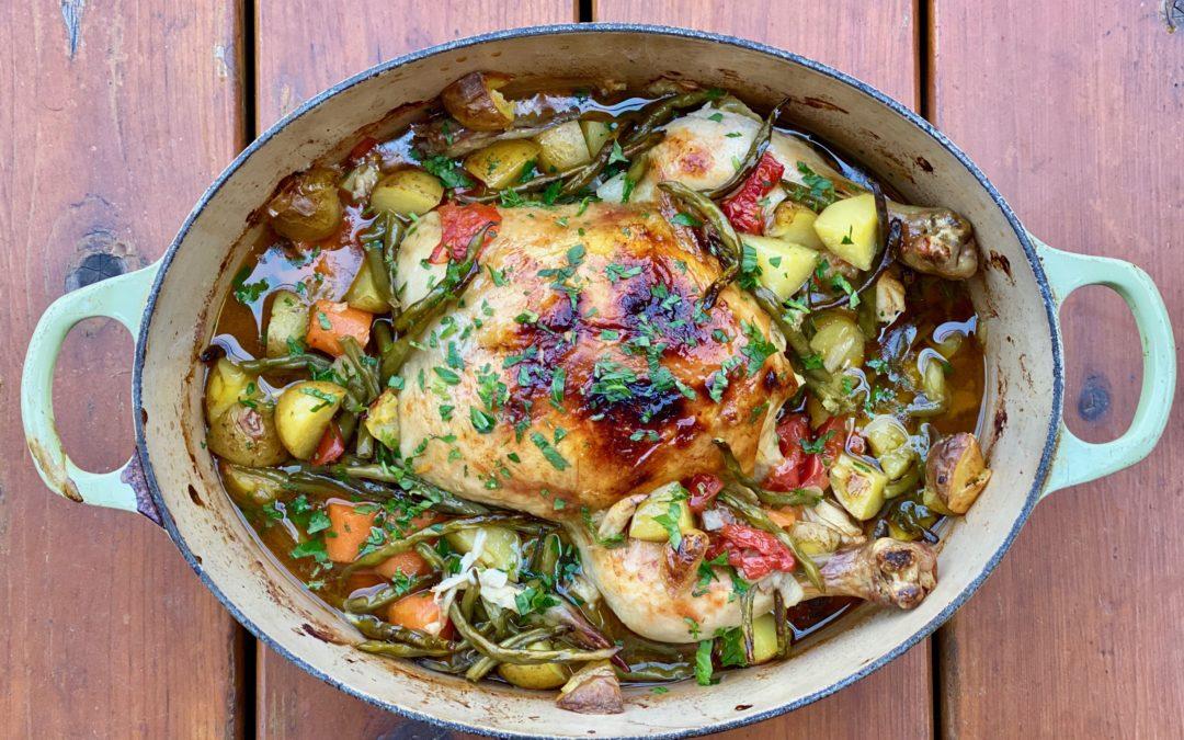 Poulet rôti avec ses légumes de saison (one pot – 2 recettes de lunchbox)